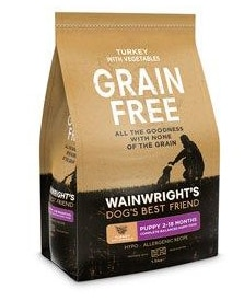 Wainwrights grain free dry dog food bag
