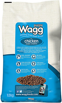 wagg chicken puppy food blue bag