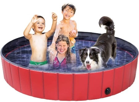 Femor Pet Pool Foldable, 160×30cm Paddling Pool for Pets&Kids, Large Non-Slip Swimming Bathing Pool, Children Play Pool for Garden, Backyard, Indoor and Outdoor(with Brush)