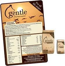 Gentle Dog Food showing ingredients