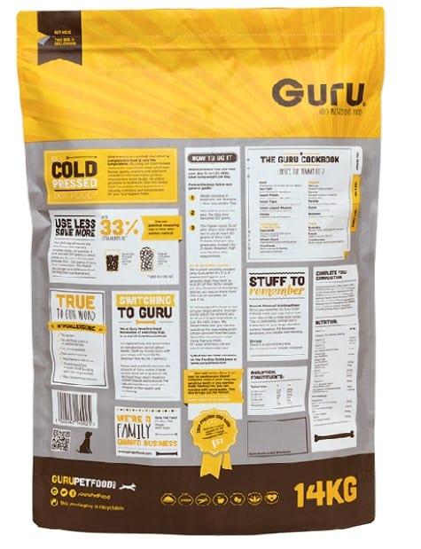 Guru Dog Food variant showing the back