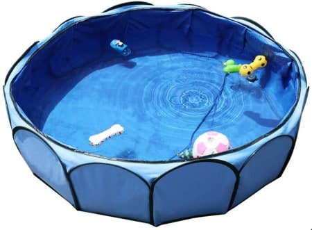 Petsfit Foldable Dog Swimming Pool, Dog Paddling Pool with Strong Wire Hoop,104cm Diameter x 30cm Height