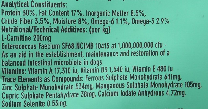 back of AATU dog food pack showing ingredients