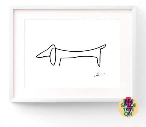 Pablo Picasso - Sausage Dog Print - Minimalist Picasso Print - Giclee Poster Wall Art Modern & Contemporary - Surrealism - Cubism dachshund