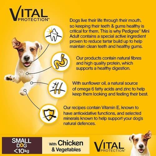 Pedigree dog food pack showing its benefits