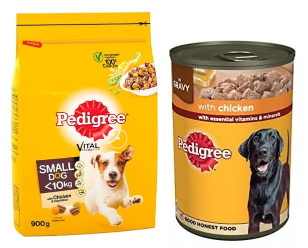 Pedigree dog food variants in pack and in can