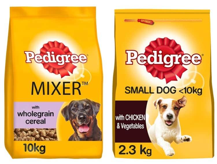 Pedigree dog food mixer and small dog variants