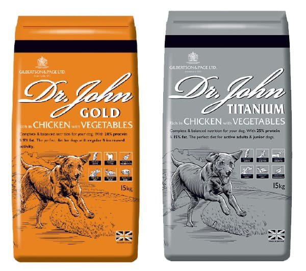 Dr John dog food Gold and Silver variants