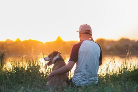 Man hugs his dog in sunset by the lake.