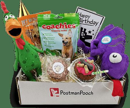 PostmanPooch box full of pet toys