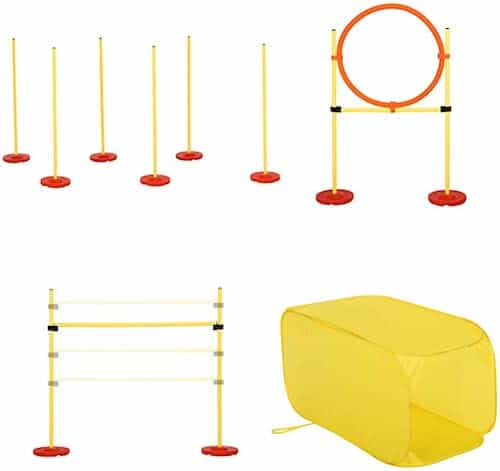 yellow pawhut portable training obstacle set